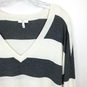 Joie Cashmere Blend Wide Stripe V-neck Sweater